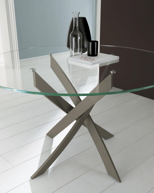 Tavolo da pranzo moderno / in vetro / tondo - BARONE - BONTEMPI CASA ...