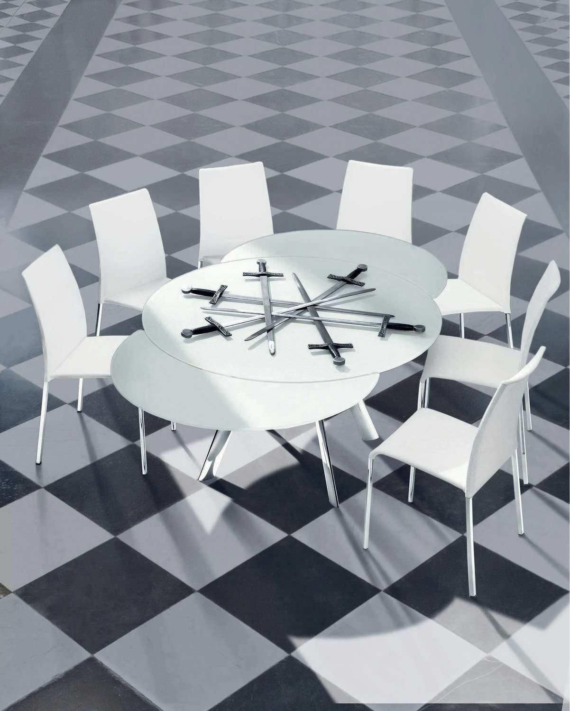 Tavolo moderno / in vetro / tondo / allungabile - GIRO - BONTEMPI ...