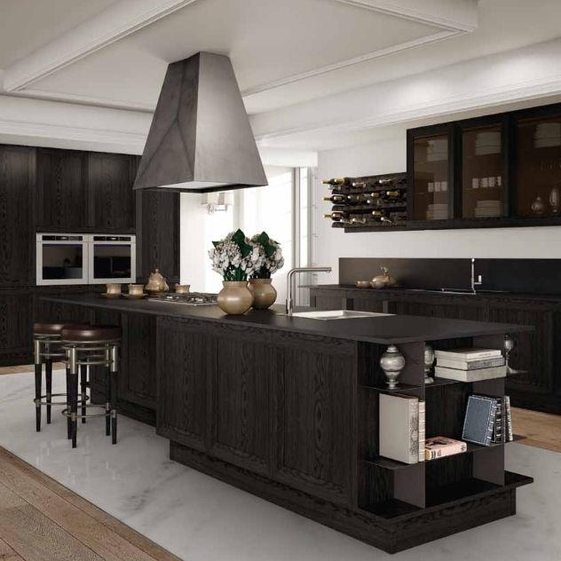 Cucina moderna / in legno / con isola / senza maniglie - MILANO ...