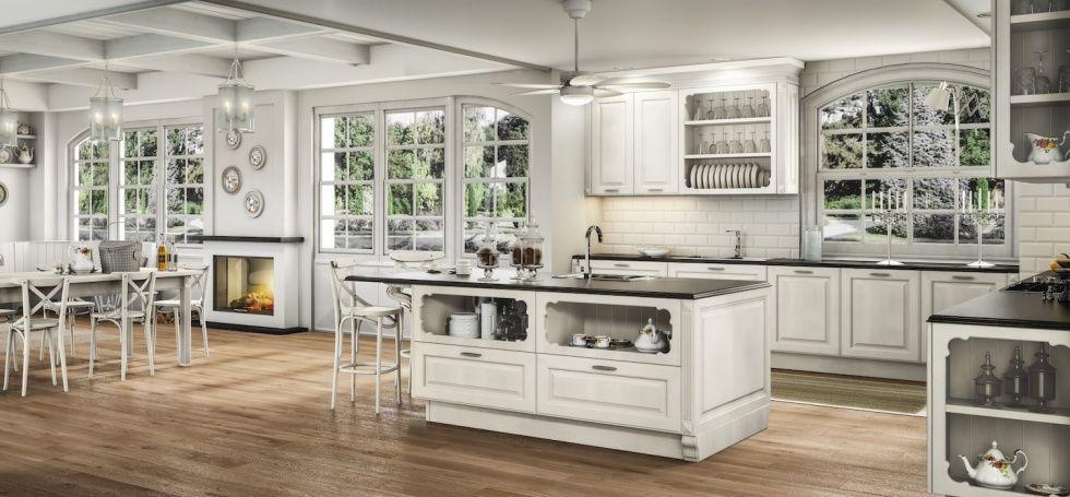 Cucina classica / in legno / con isola / laccata - ATHENA - BERLONI