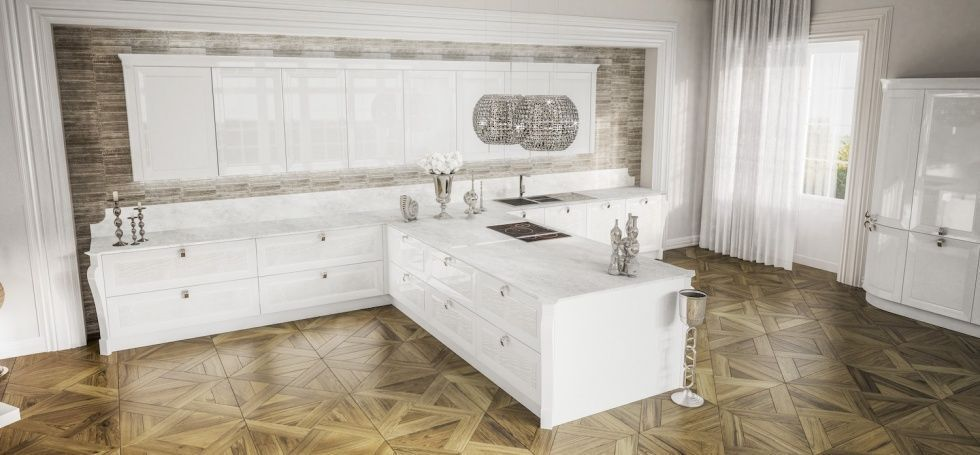 Cucina classica / in legno / a L / laccata - OLYMPIA - BERLONI