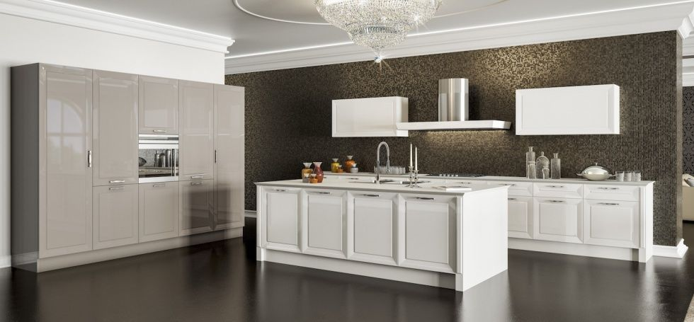 Cucina classica / in legno / con isola / laccata - OLYMPIA - BERLONI