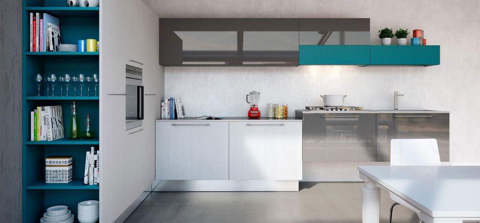 Cucina moderna / impiallacciata in legno / laccata / lucida - PLAN ...