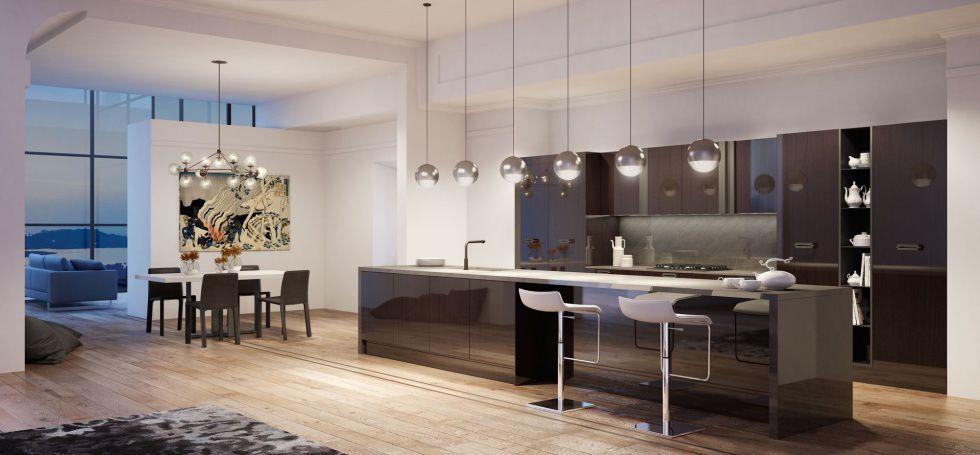 Cucina moderna / in acciaio inox / impiallacciata in legno / con ...