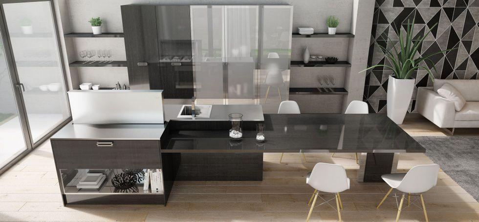 cucina moderna in acciaio inox impiallacciata in legno con isola soho berloni
