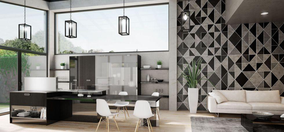Cucine Berloni cucine berloni con isola : Cucina moderna / in acciaio inox / impiallacciata in legno / con ...