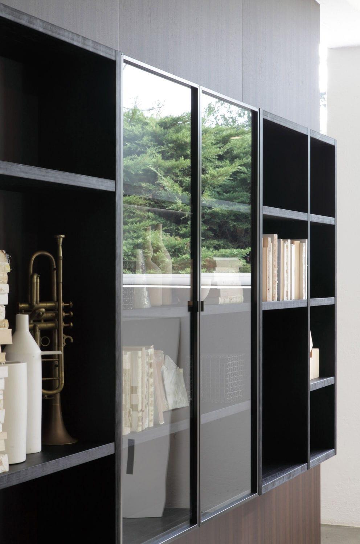 Libreria moderna / per ufficio / in legno laccato / in alluminio ...
