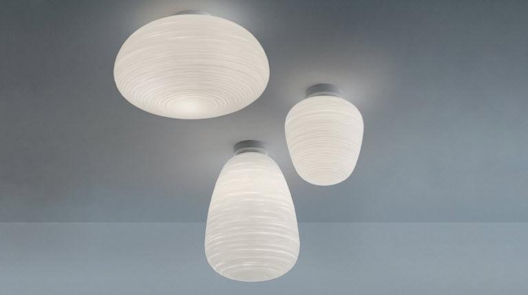 Plafoniera Foscarini : Plafoniera moderna in vetro soffiato metallo laccato led