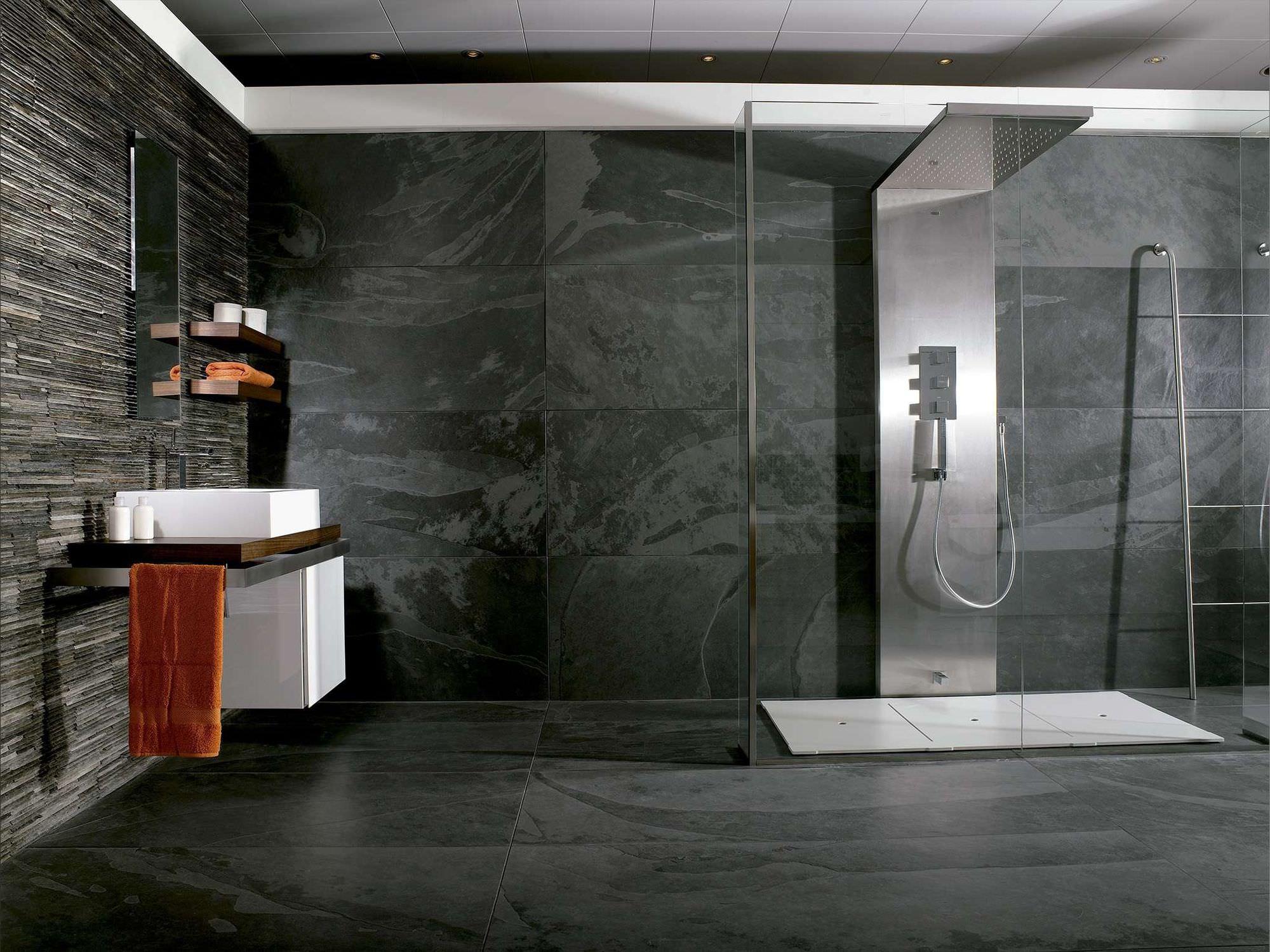 Rivestimenti Bagno In Pietra Ardesia : Piastrella da interno da bagno da parete in ardesia