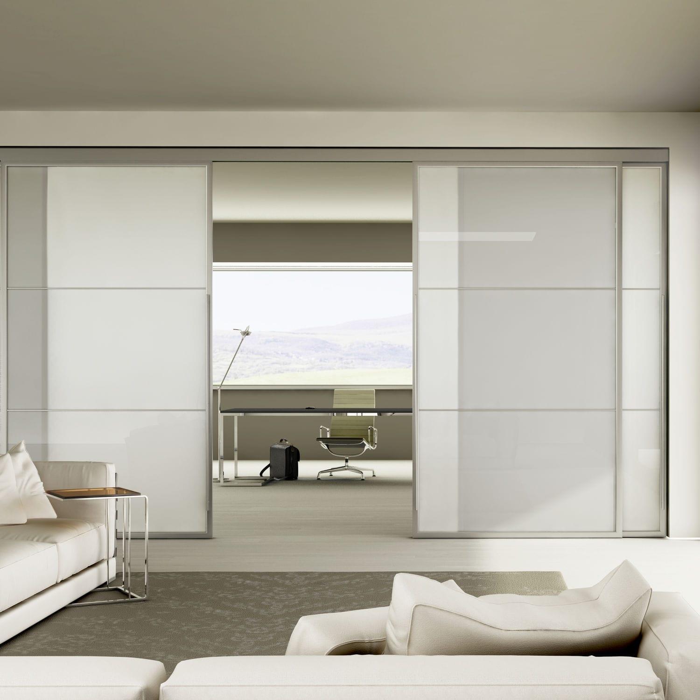 Porta da interni / scorrevole / in alluminio / doppia - LIGHT ...