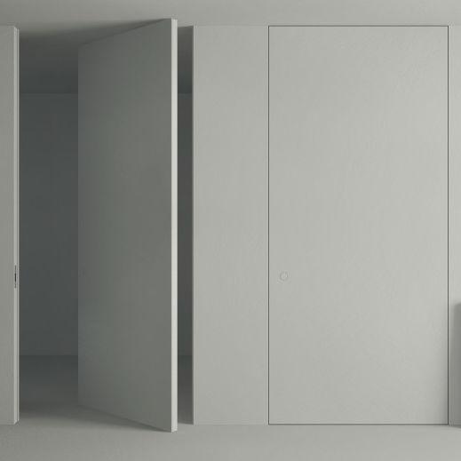 Porta da interni / a bilico con asse centrale / in legno / filomuro ...