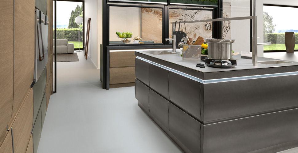 Cucina moderna / impiallacciata in legno / in legno massiccio / con ...
