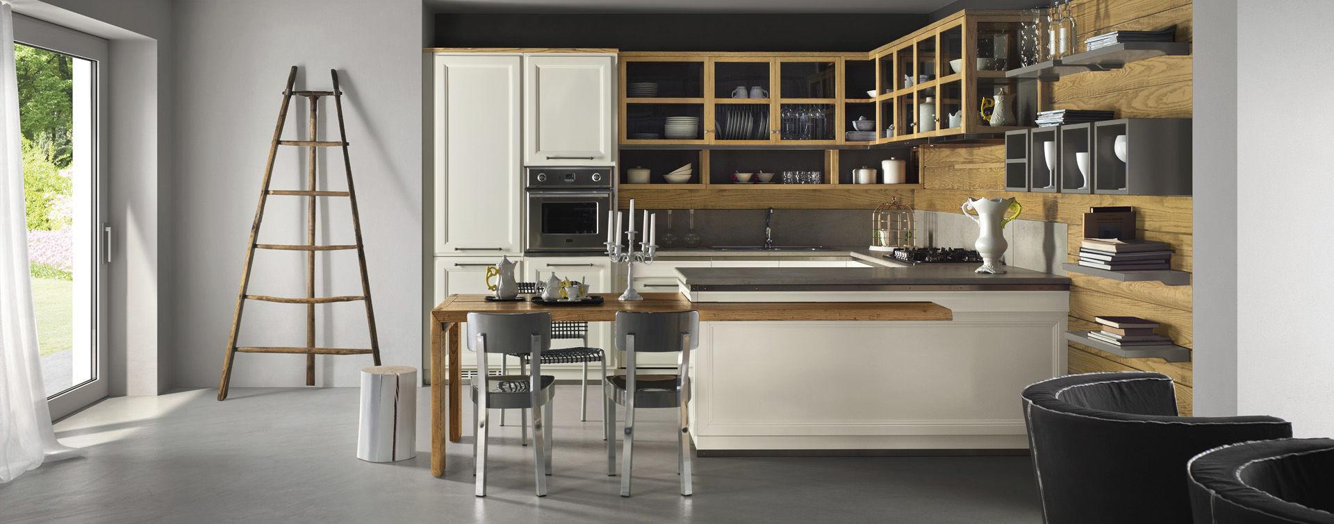 Cucina moderna / in legno / a U / laccata - LIVING DESIGN - L\'OTTOCENTO