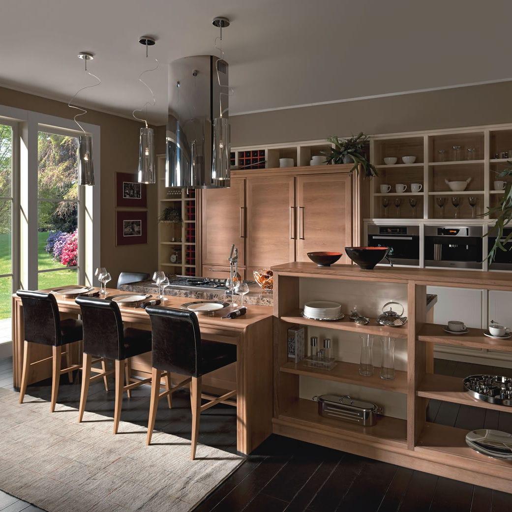 Cucina moderna / in legno / impiallacciata in legno / in legno ...