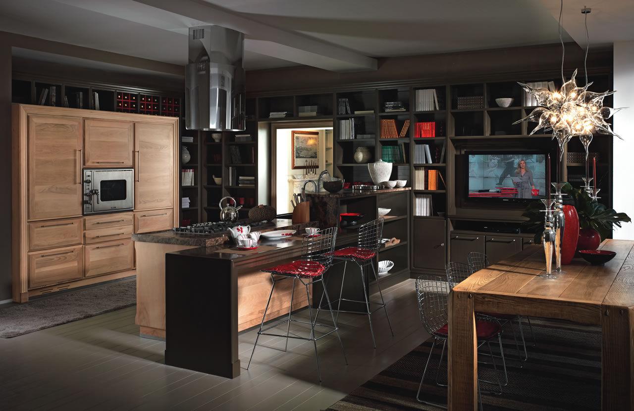 Cucina moderna / in legno massiccio / in noce / in pietra naturale ...
