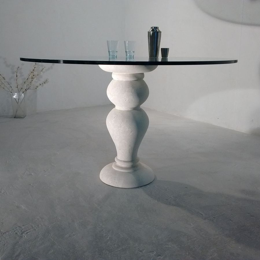 Tavolo da pranzo classico / in pietra / in cristallo / tondo - 700 ...