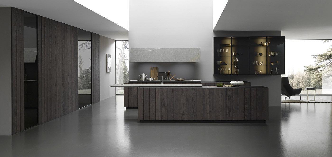 Cucina moderna / in legno / con isola / senza maniglie - FLOAT ...