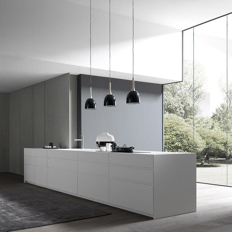 Cucina moderna / in legno / con isola / laccata - FLY - MODULNOVA