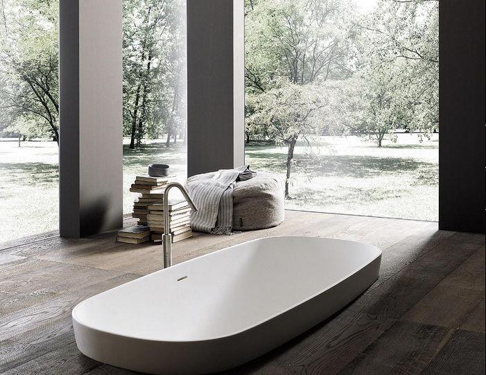 vasca da bagno da incasso da appoggio ovale in acrilico
