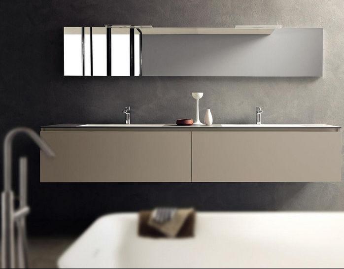 Mobile lavabo doppio / sospeso / in legno / moderno - LIGHT ...