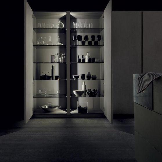 Mobile alto per cucina moderno / in legno / in vetro - TWENTY RESINA ...