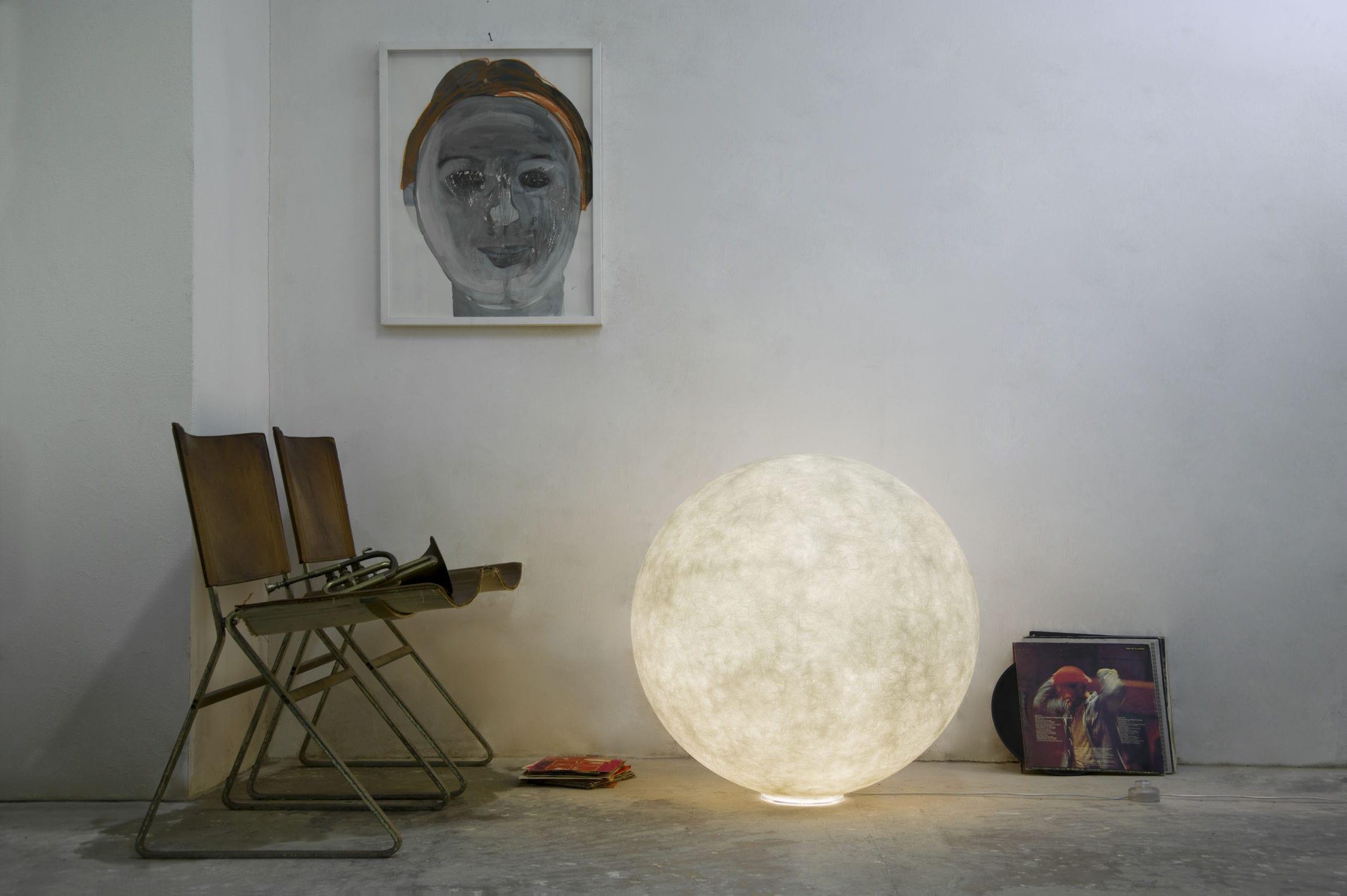 Lampada da pavimento moderna in nebulite led luna moon