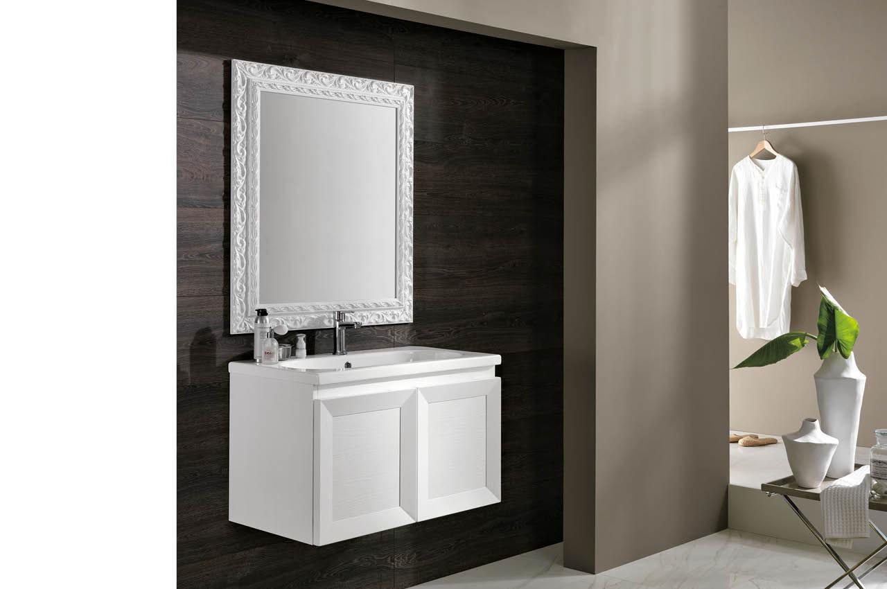 Mobile lavabo sospeso / in legno massiccio / in ceramica / moderno ...