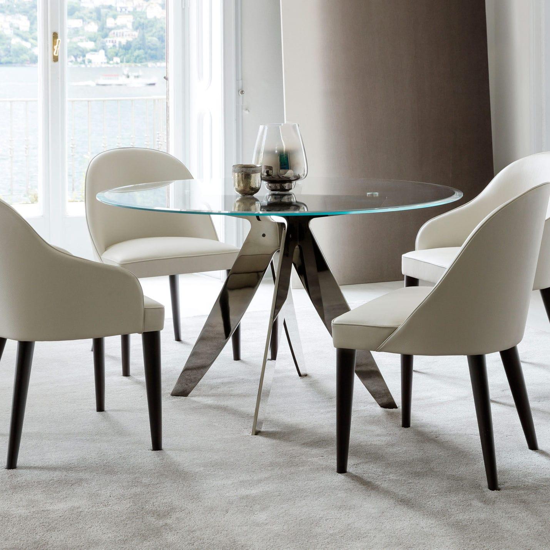Tavolo da pranzo moderno / in cristallo / tondo - RING ROTONDO ...