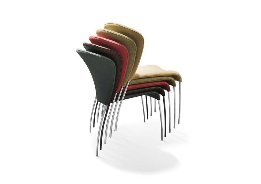 Sedia moderna impilabile in tessuto in pelle calla by gijs