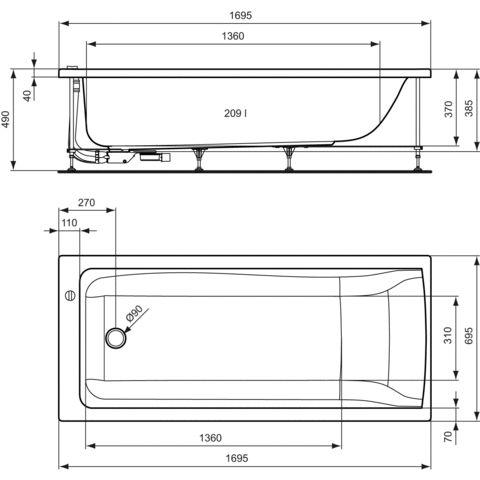 vasca da bagno da appoggio in acrilico connect e0195 by robin levien ideal standard