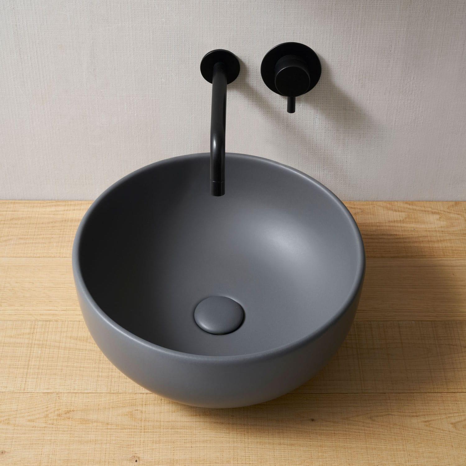 Lavabo da appoggio / tondo / in ceramica / moderno - SHUI - CEMENTO ...