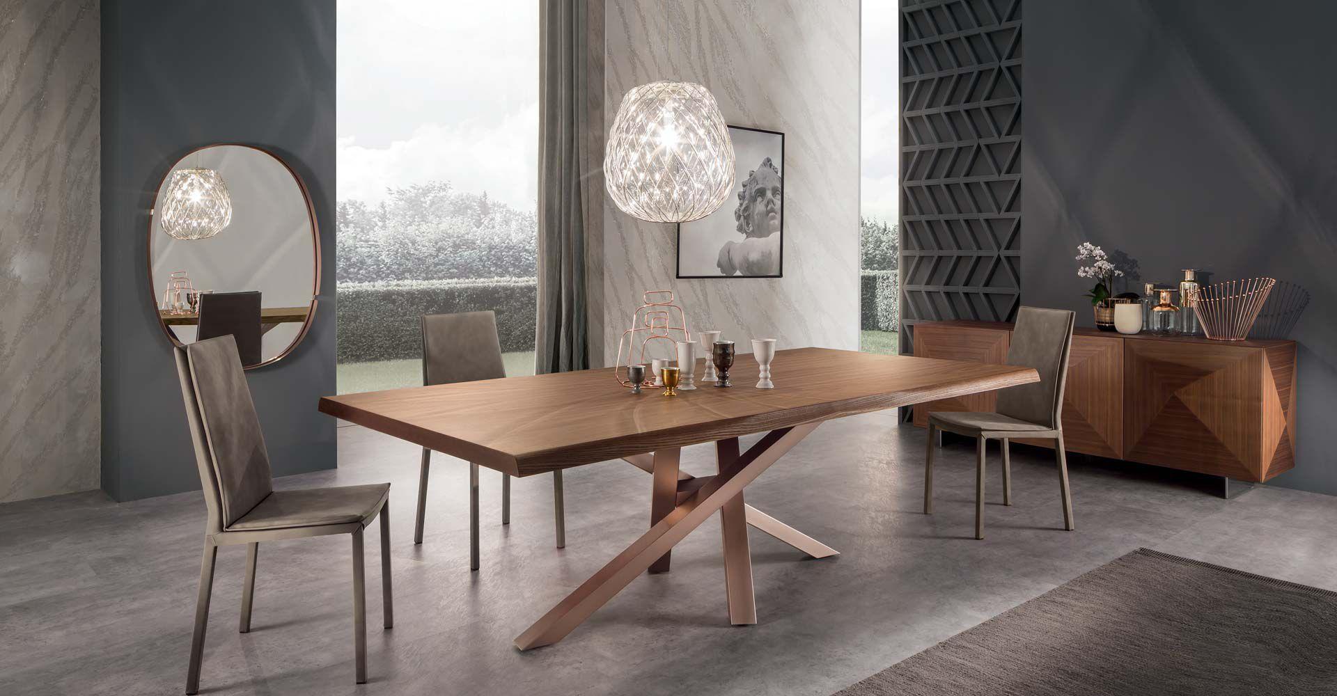 Tavolo da pranzo moderno in legno in cristallo in alluminio