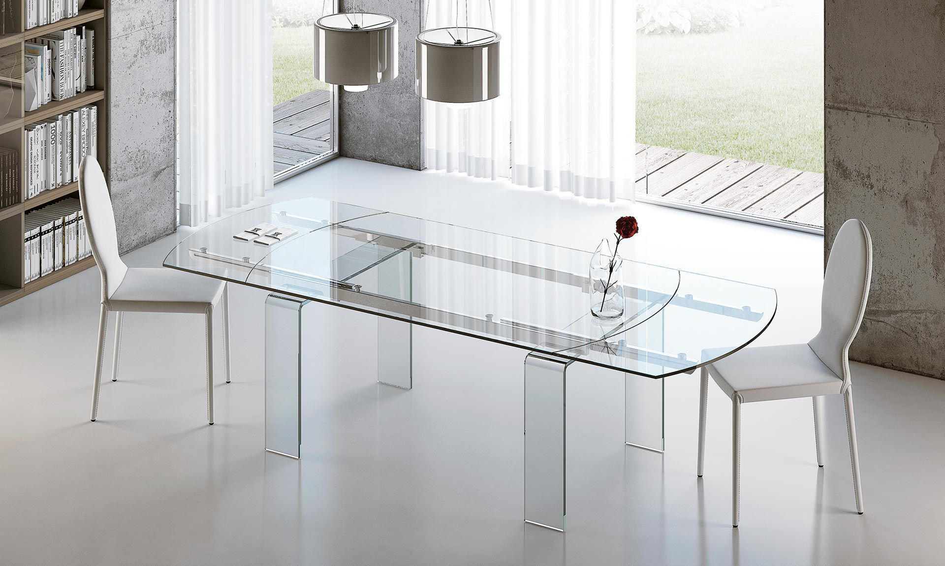 Tavolo moderno / in alluminio / in vetro temprato / allungabile ...