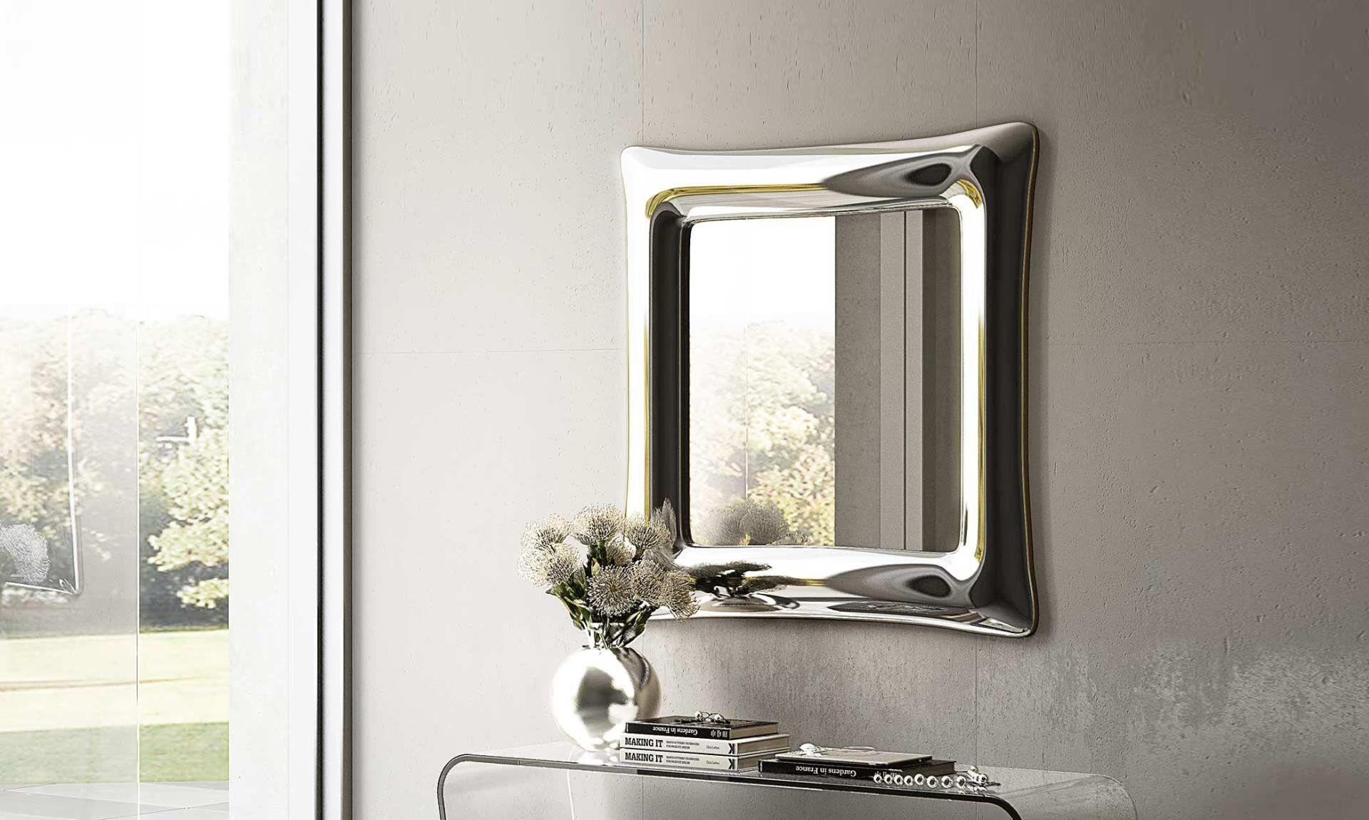 Specchio a muro moderno rettangolare quadrato sinuo riflessi