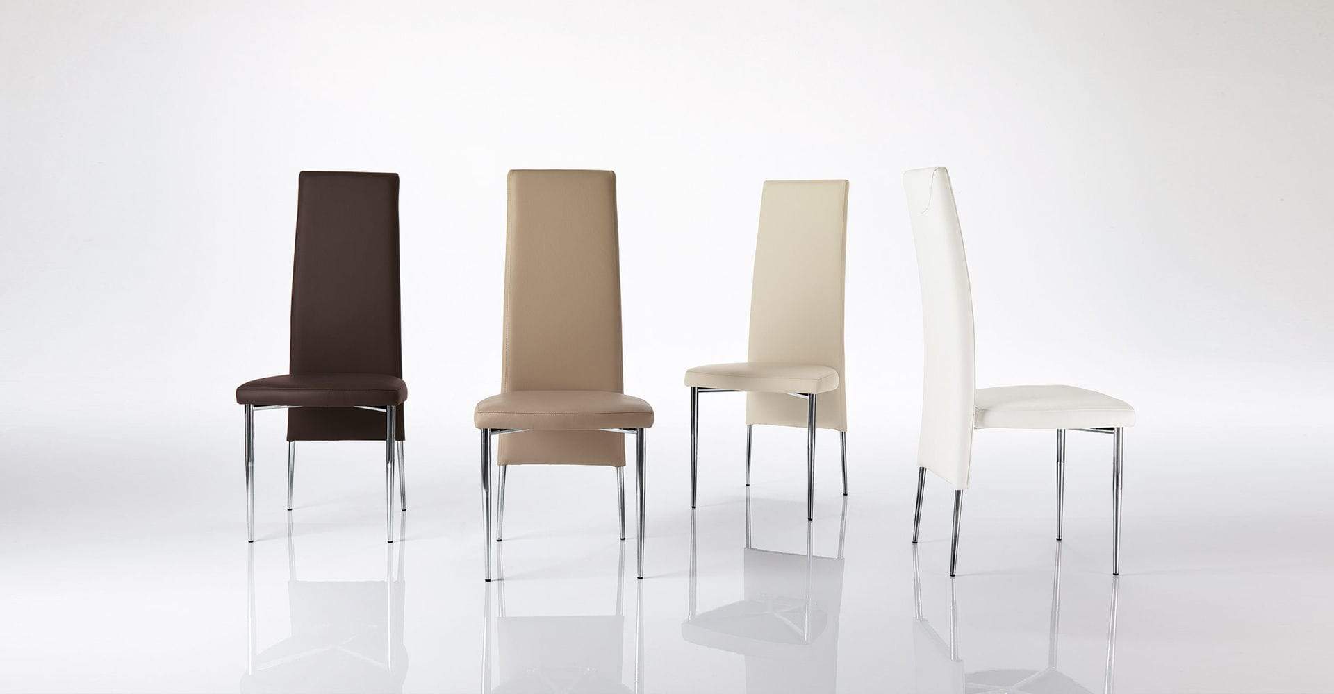 Sedia moderna imbottita con schienale alto in acciaio