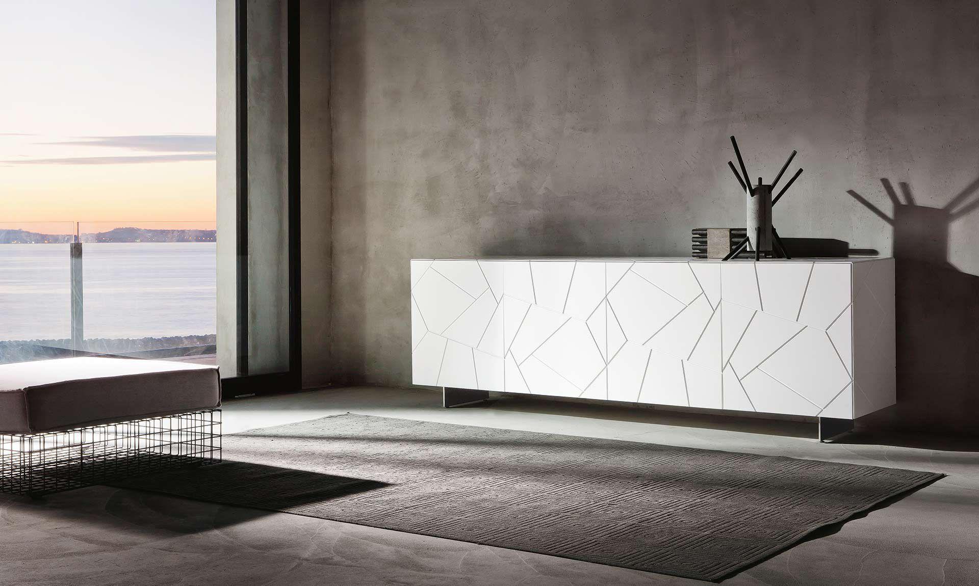 Credenza Moderna Sottile : Credenza moderna in legno laccato bianca segno riflessi