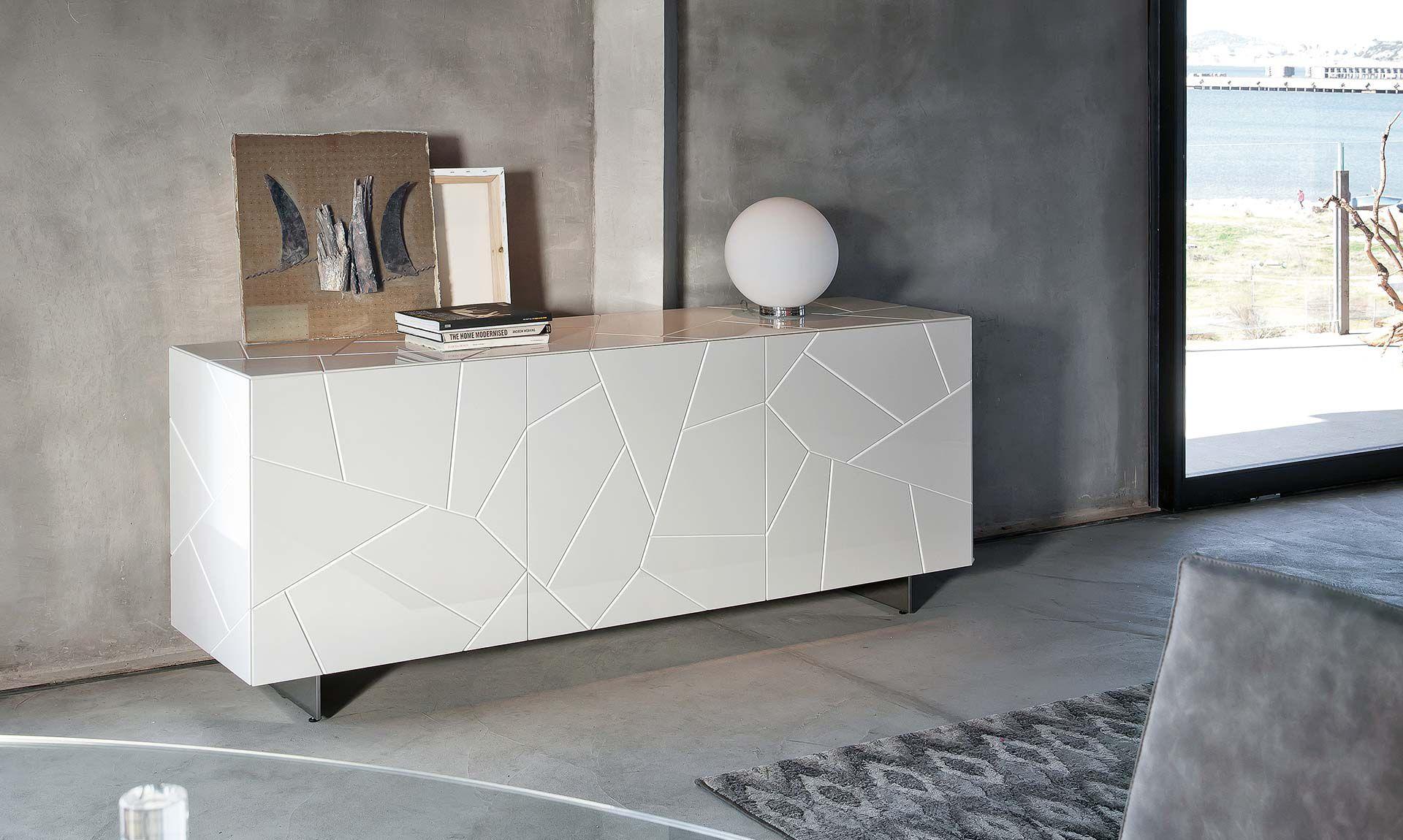 Credenza Moderna Bianca Legno : Credenza moderna in legno laccato bianca segno riflessi