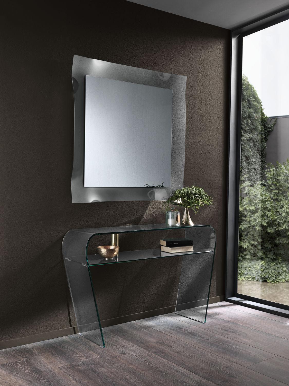 Consolle moderna / in vetro curvato / rettangolare / con contenitore ...