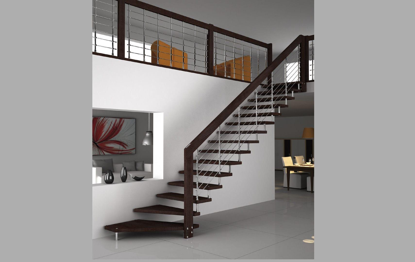 Scala Da Esterno In Legno : Scala a l con struttura in metallo con gradini in legno senza