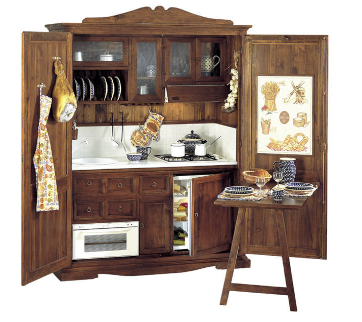 Cucina in stile / in legno massiccio / in legno / con impugnature ...