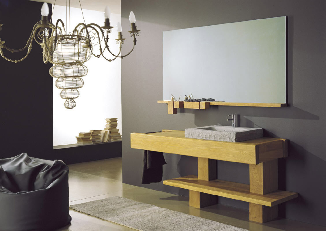 Mobile lavabo da appoggio in legno design oltre mobili di