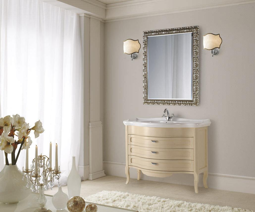 Mobile lavabo in legno classico con specchio andromeda