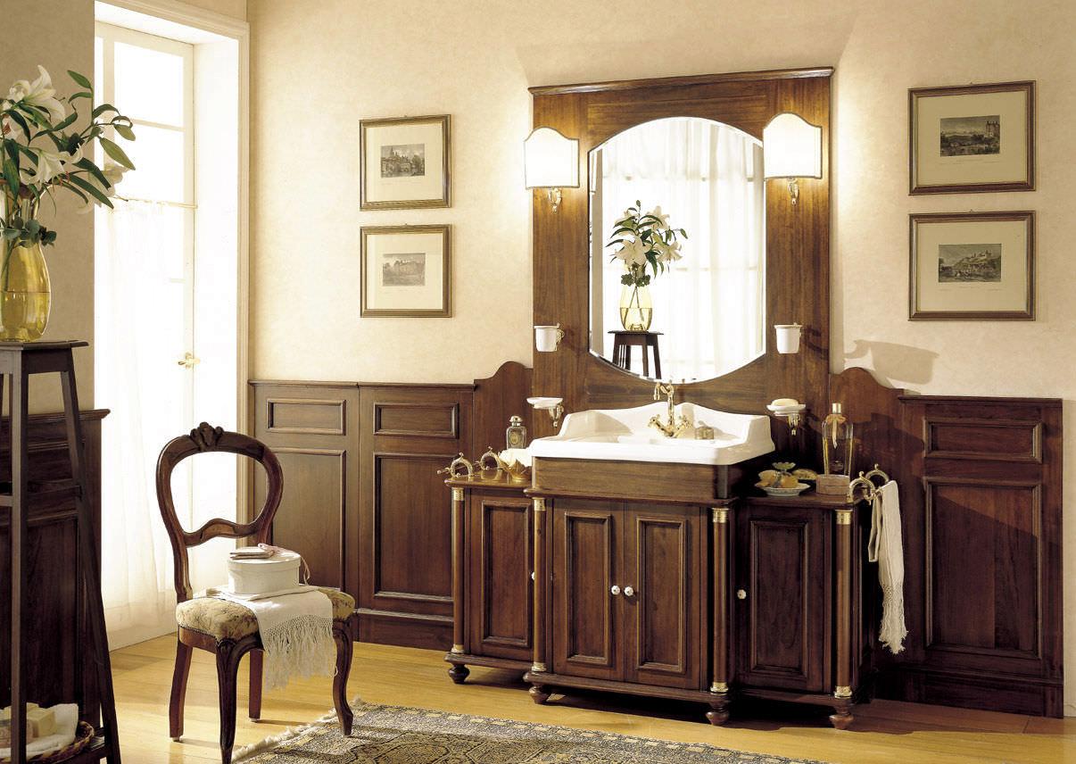mobile lavabo in noce / in stile / con specchio - old england ... - Arredo Bagno Old England