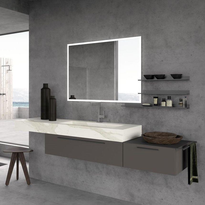 Mobile da bagno moderno / in legno / da parete / con cassetti ...