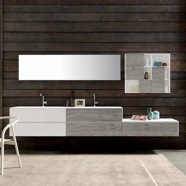 Mobile lavabo in composito / sospeso / moderno / con scaffale ...