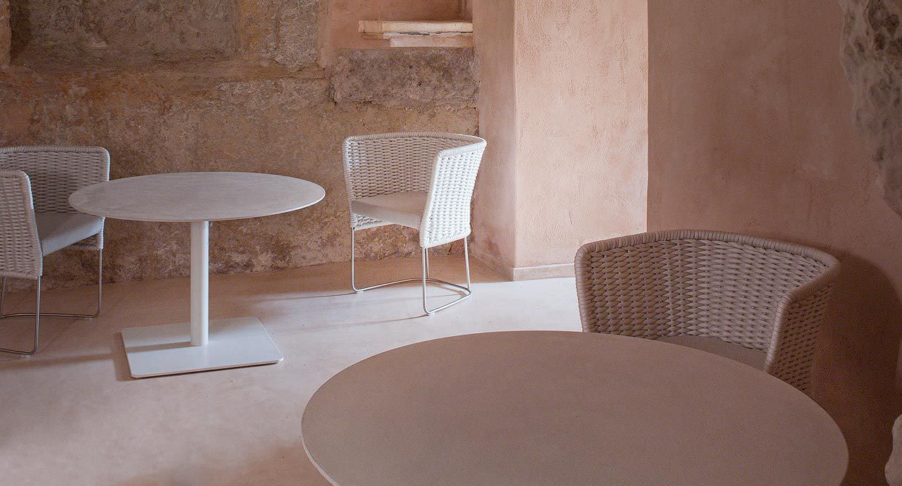 Tavolo alto moderno in alluminio tondo da giardino giro by