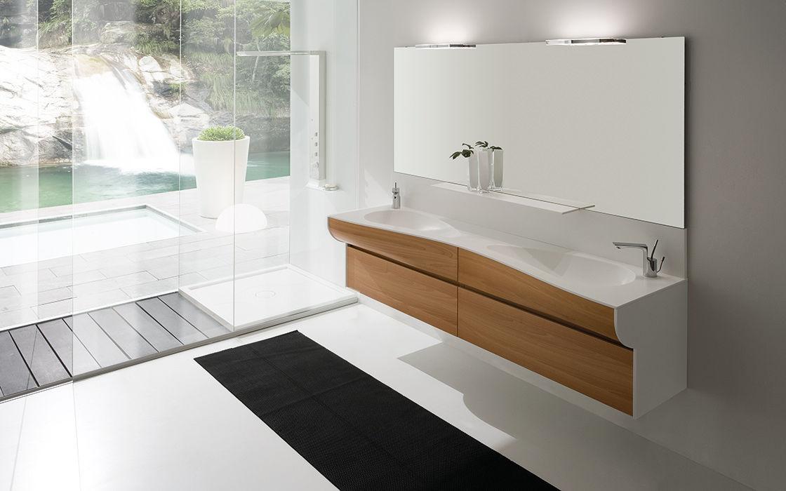 Mobile lavabo doppio / sospeso / in laminato / moderno - WAVE by ...