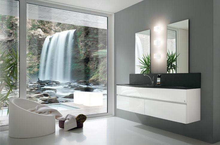 mobile lavabo doppio / sospeso / in laminato / moderno - wave by ... - Arredo Bagno Moderno Doppio Lavabo