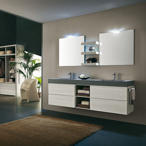 Mobile lavabo doppio / sospeso / in legno / moderno - HOPE: AB6100 ...