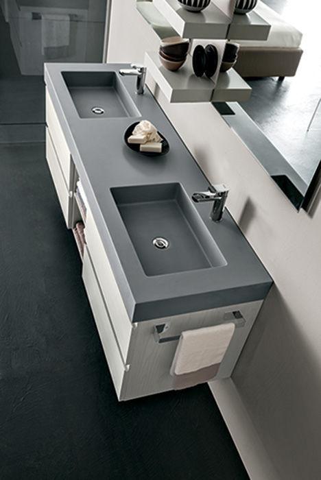 mobile lavabo doppio / sospeso / in legno / moderno - hope: ab6100 ... - Arredo Bagno Rab